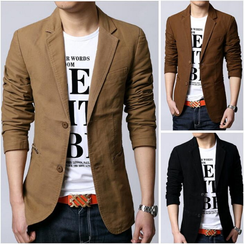 2019 New Men's Casual Blazers Leisure Suit MEN Slim Fitted Male Blazers Single Breasted men coat Terno Masculino Plus Size-in Blazers from Men's Clothing