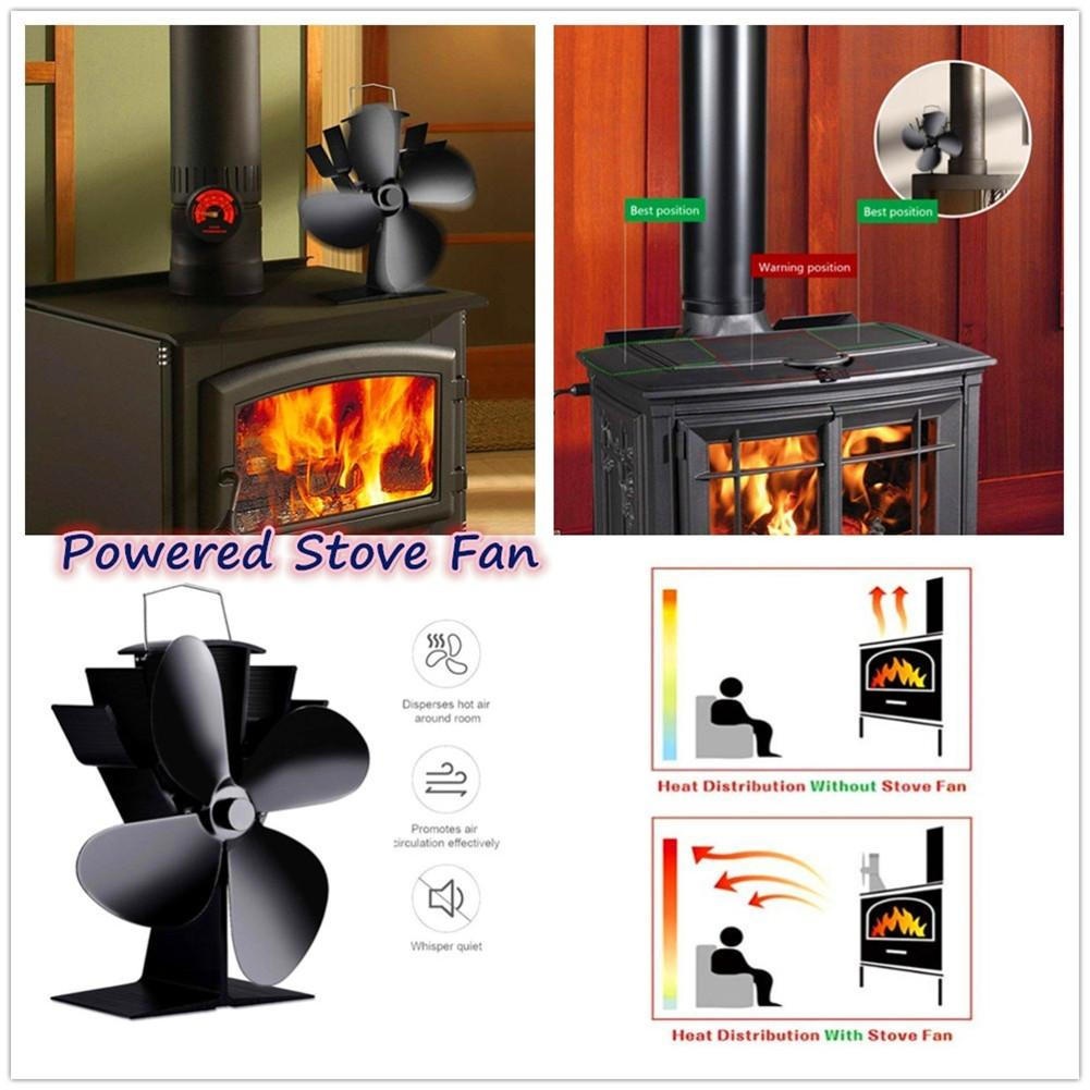 4 Blades Heat Powered Wood Stove Fan Eco-Friendly Log Burner Winter Warmer Black Fireplace