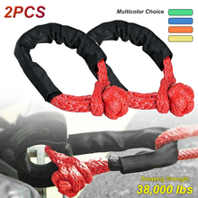 2pcs 38,000 lbs Car Flexible Synthetic Soft Shackle Trailer Pull Rope Towing Recovery Straps ATV UTV For Car Broke Down