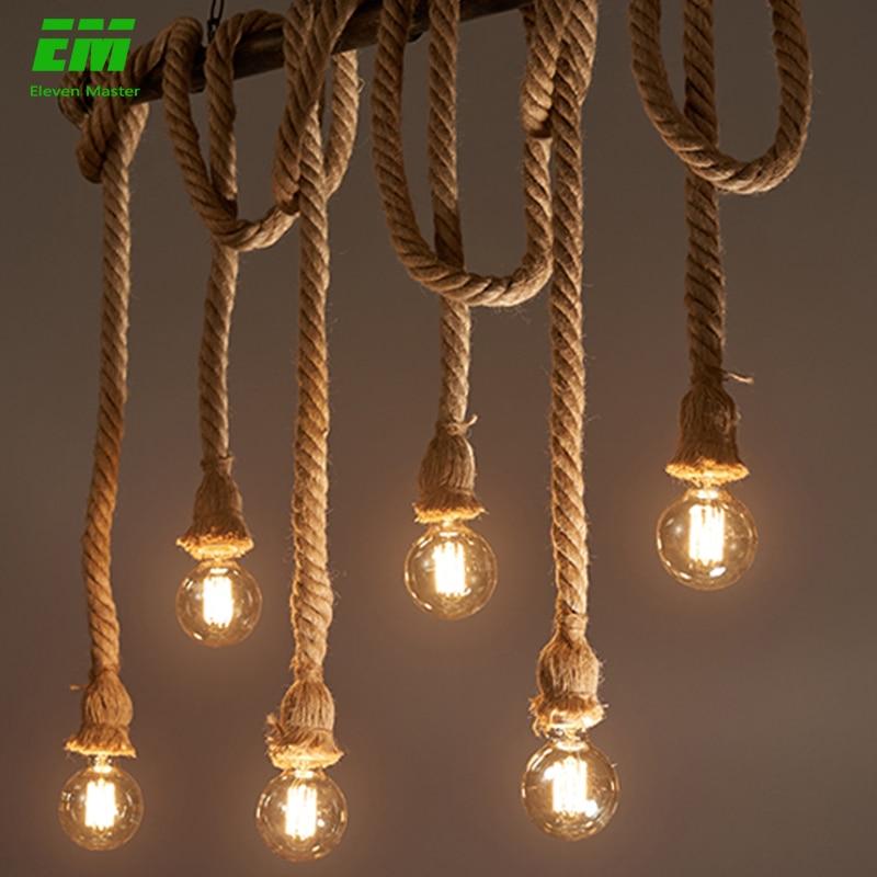 1/2/3/4/5 head vintage hemp rope pendant light retro loft industrial hanging lamp edison bulb lamp home light decoration ZDD0003 1