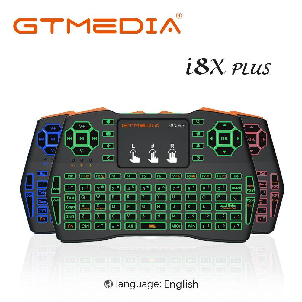 GTMEDIA освещенная контржурным светом i8X плюс мини Беспроводной Клавиатура 2,4 ГГц Air Мышь с Touchpad пульт дистанционного управления Управление для...