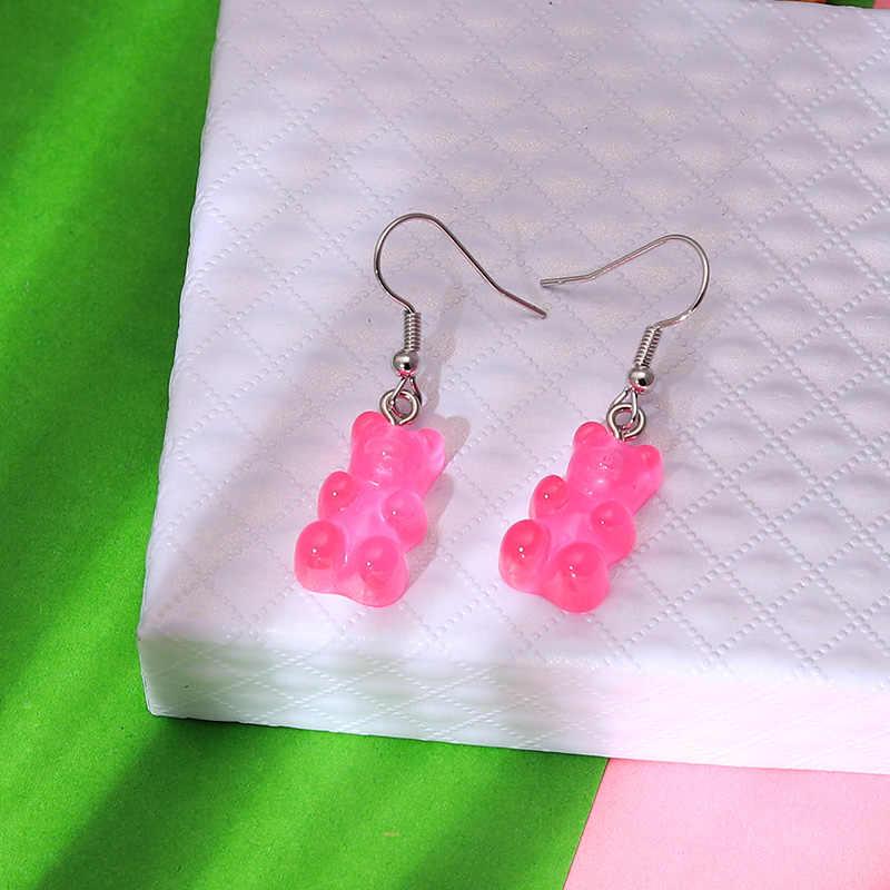1 par creativo lindo Mini pendientes de oso de goma minimalismo diseño de dibujos animados ganchos de oreja femenina colgantes joyería regalo