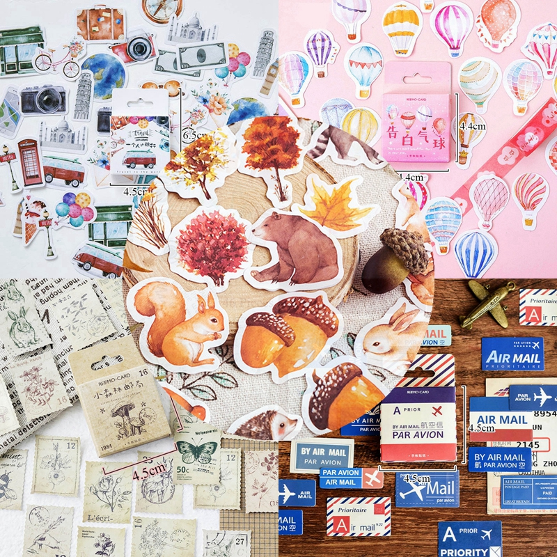 45/46Pcs A Person's Travel Stickers Kawaii Paper Adhesive Sticker For Scrapbooking Home Decoration Diary Diy Label Seal Sticker