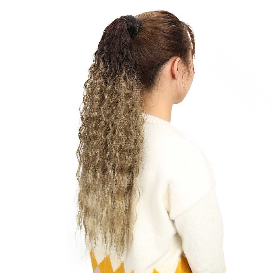 """Edle Haar 26 """"Zoll Lange Wellenförmige Pferdeschwanz Hohe Temperatur Synthetische Weibliche Faser Perücke Haar Clip Erweiterung Für Alle Frauen"""