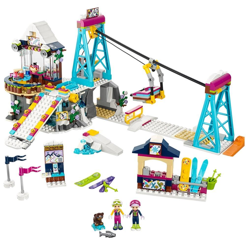 2020 new lepiningSnow Resort Ski Lift Bricks Friends Serise Building Blocks toys for children Girl gifts Model 591Pcs
