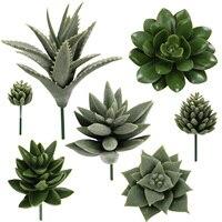 7pcs 인공 즙이 많은 인공 식물 가짜 즙이 많은 인공 식물 꽃 홈 오피스 정원 장식 액세서리