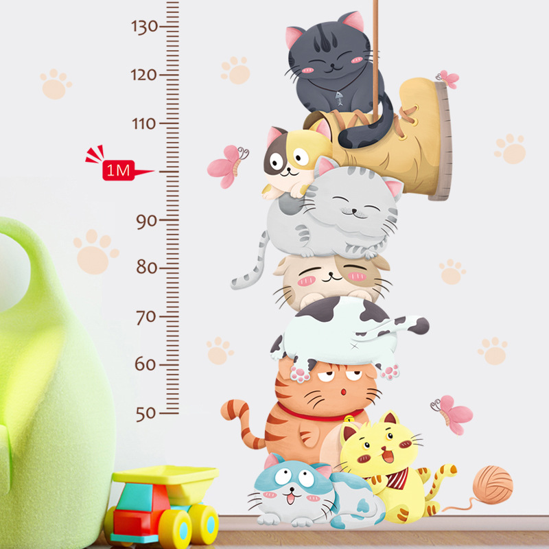 Cartoon Cats Height Measure Sticker Wall Stickers Kids Room Kindergarten Girls Room Animals Wall Decals Eco-friendly Home Deocor