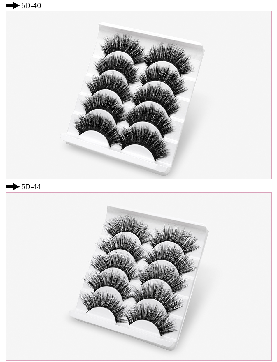 SEXYSHEEP 5Pairs 20-25mm 3D Faux Mink Hair False Eyelashes Natural/Thick Long Eye Lashes Wispy Makeup Beauty Extension Tools