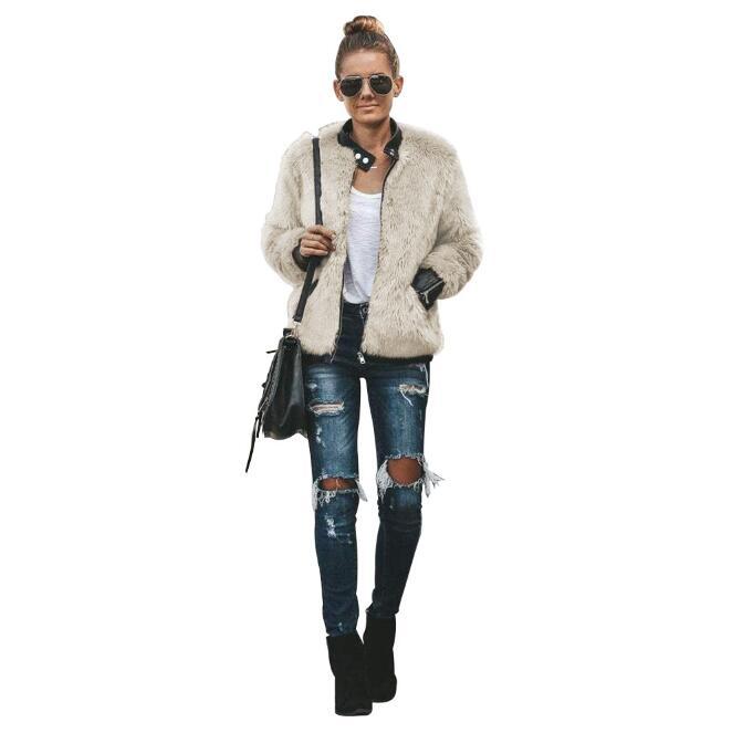 2019 winter fur integrated thermal plush zipper cardigan casual loose real rabbit fur European and American women's outerwear