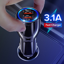 18W 3.1A Car Charger Fast Quick Charge 3.0 Universal Dual USB Fast Charging QC For iPhone Samsung Xiaomi Mobile Phone In Car dual usb quick charge qc3 0 car charger for iphone xiaomi pocophone f1 huawei samsung mobile phone fast charging adapter in cell
