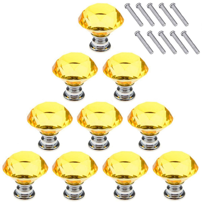 New Yellow 10Pcs 40mm Crystal Glass Cabinet Knobs Diamond Shape Drawer Kitchen Cabinets Dresser Cupboard Wardrobe Pulls Handles|Cabinet Knobs| |  - title=