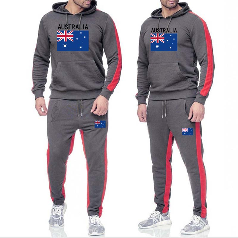 2019 Men Fashion Long Sleeve Hoodies+Drawstring Pants Set Male Tracksuit Sport Suit Men's Gyms Set Casual Sportswear Suit