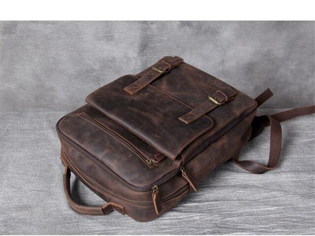 Купить винтажный рюкзак из воловьей кожи crazy horse для мужчин и женщин картинки
