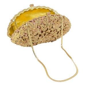 Image 4 - ブティックデfgg眩しいシャンパン花クリスタルクラッチイブニング財布バッグ女性フォーマルなディナーバッグウェディング財布
