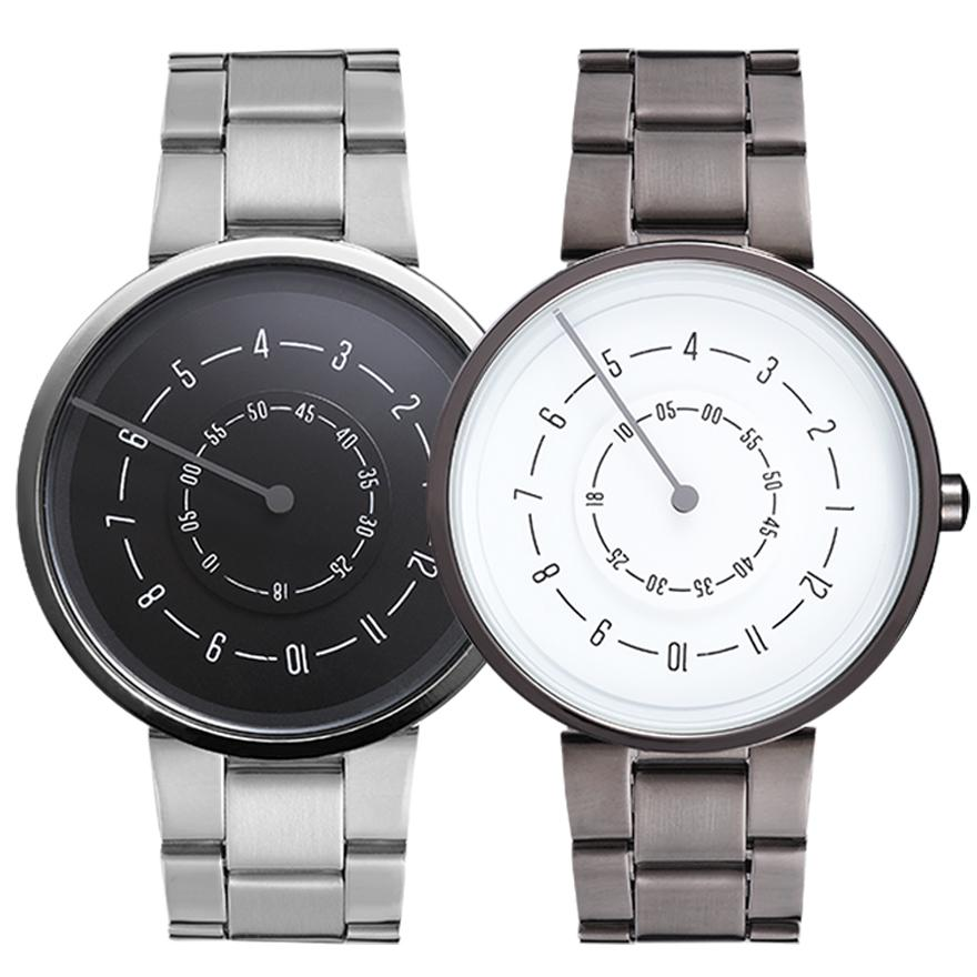 Drop Shipping Watch For Men Women Quartz Watches Turntable Number Dial Wristwatch Stainless Steel Band Couple Wrist Clock Reloj