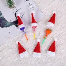 10 PCS Christmas Hat Santa Claus Xmas Lollipop Mini Little Hats Lovely Cute Cristmas Decoration Party cards