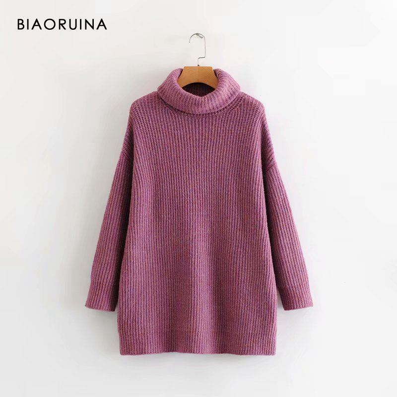 REJINAPYO 15 Color Women Fashion Solid Casual Knitted Sweater Female Turtleneck Oversized Pullover Ladies Elegant Loose Sweater 14