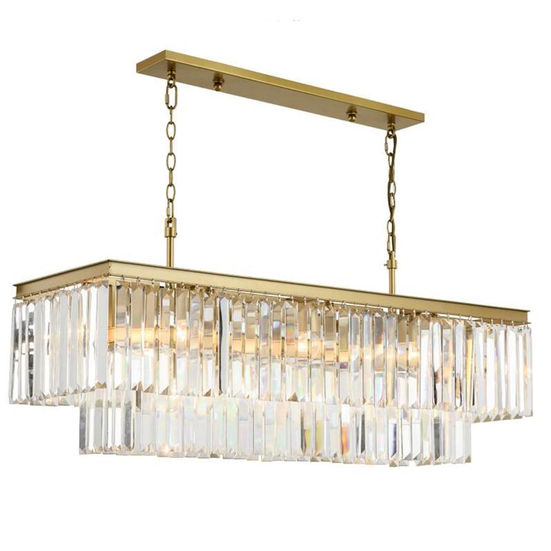 Square Golden Crystal Chandelier American Crystal Chandelier Restaurant Dining Room Bedroom Study Room Living Room LED Light