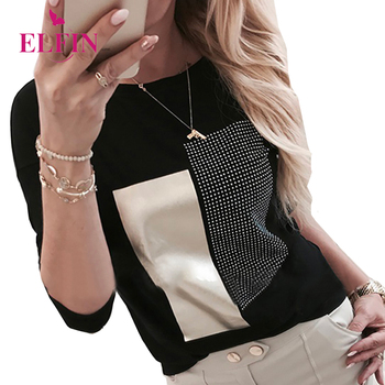 black\gold patchwork womens tshirts