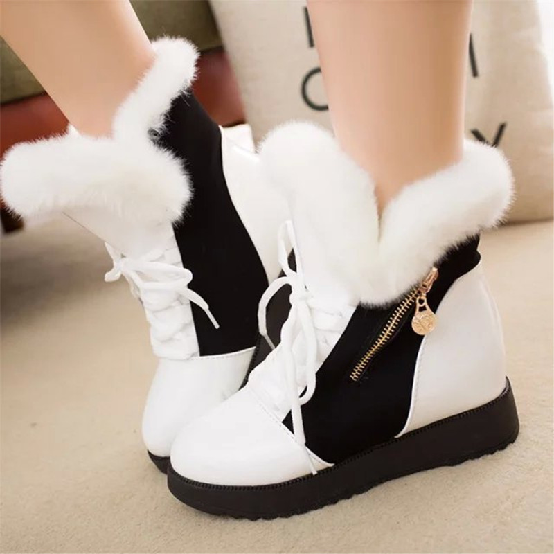2019 Women Snow Boots Fashion Natural Wool Fur Winter Warm Ankle Boots For Women comfortable Lace-Up Flat Shoes Metal Decoration 18