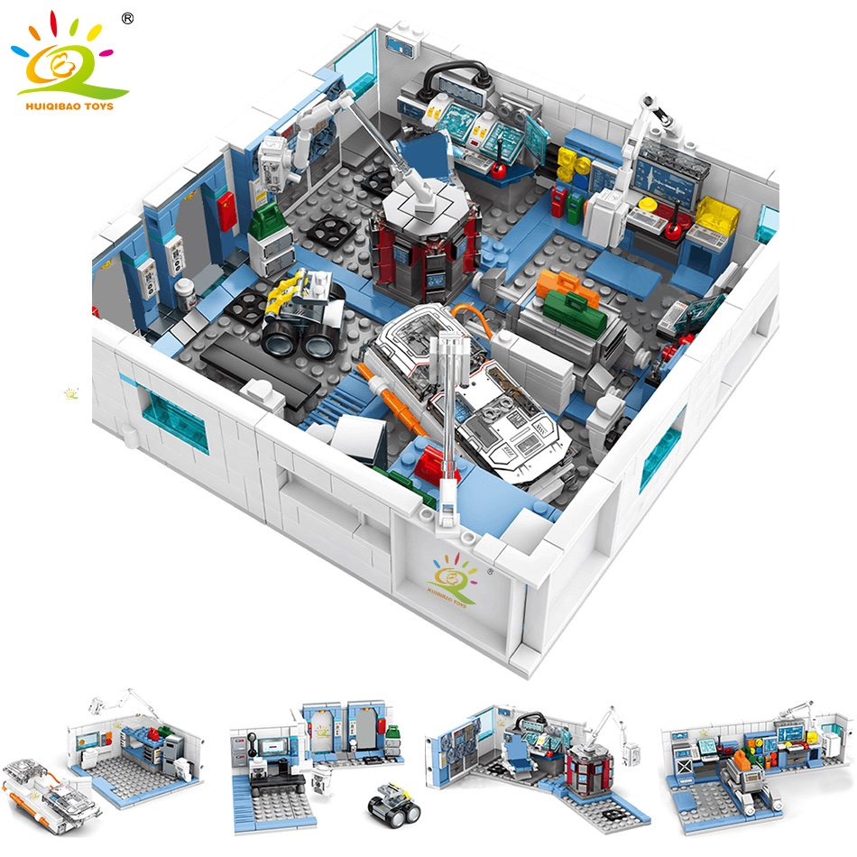 HUIQIBAO 1006Pcs Wandering Earth Aerospace Laboratory Space Station Building Blocks City Scientist Figures Bricks Toys Children