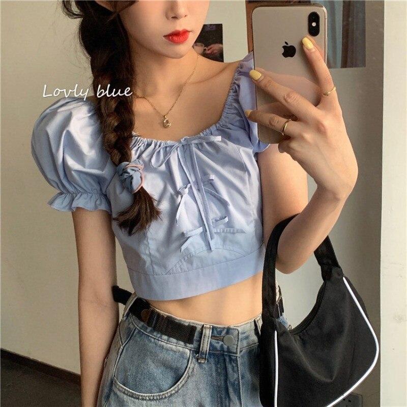 Retro Puff Sleeve Women Shirts Blouses Short Sleeve Square Collar Female Elegant Leisure Streetwear Clothes
