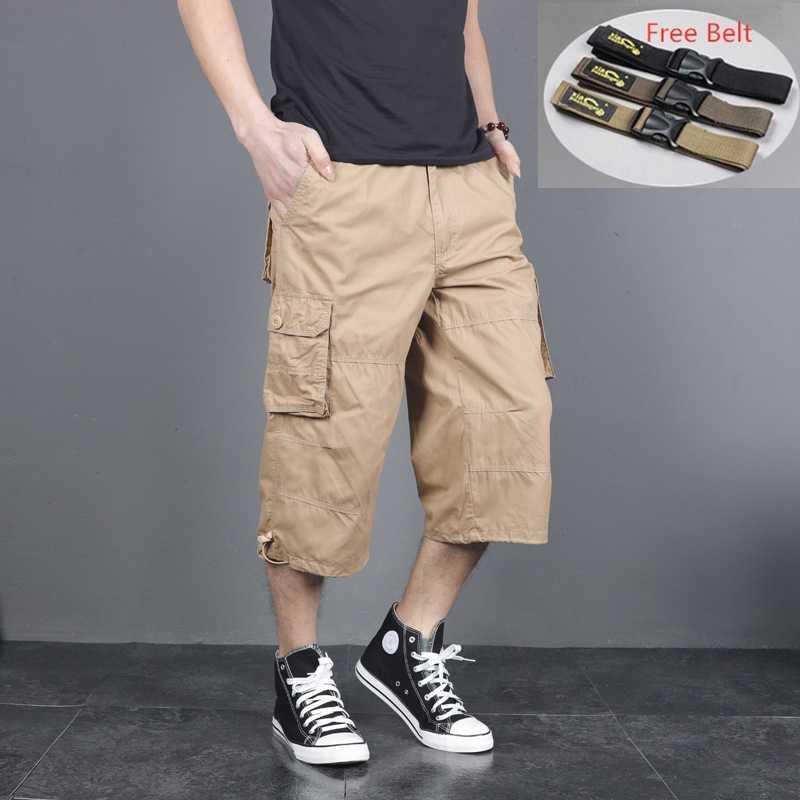 2020 Estate Cargo Shorts Gli Uomini Molti Tasca Mezza Pantaloni Corti Casual Allentato Camo Shorts di Lunghezza Del Ginocchio con La Cinghia Bermuda Uomo