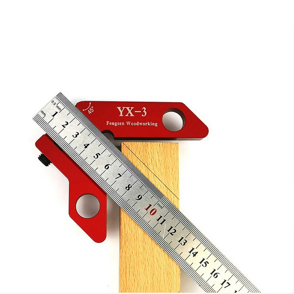 YX-3 Woodworking Scriber Red 300mm Scale Measure Scribing Ruler T-type Hole Ruler Marking Tool Layout Gauge Woodworking Tools