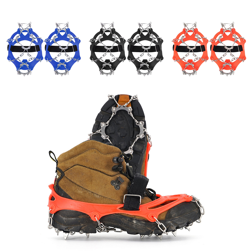 1pair Ice Gripper 13 Tooth Ice Cleats Crampons Mountain Road for Hiking Climbing Jogging