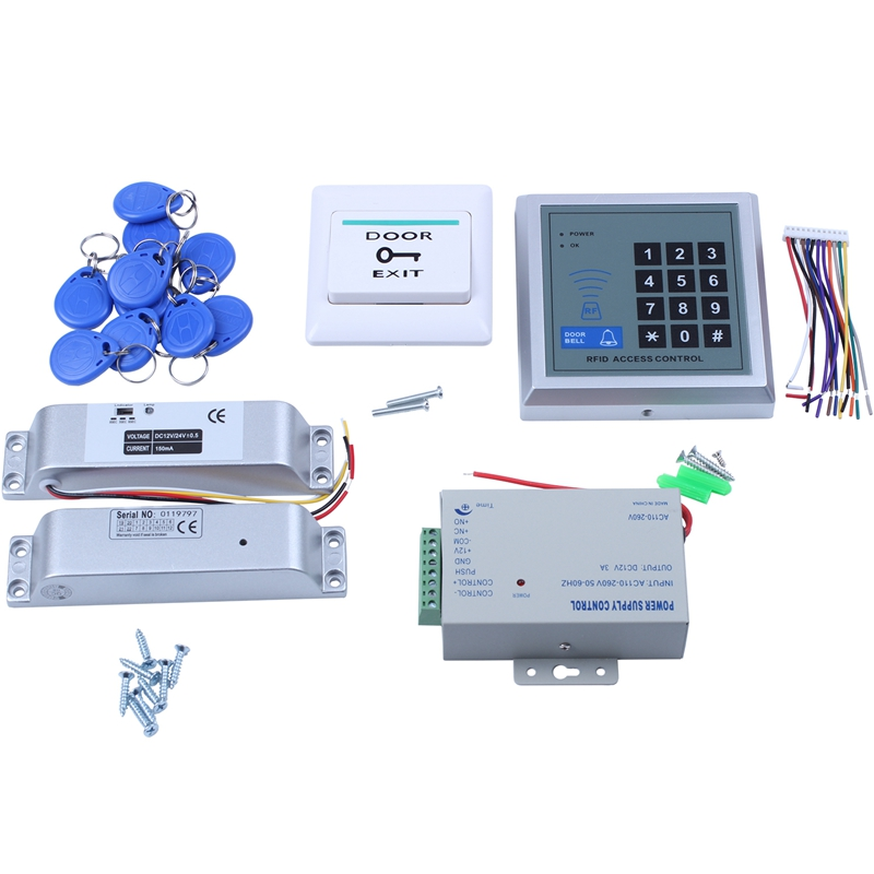 Electric Lock RFID Keypad Door Access Control System Kit Electric Magnetic Electronic Door Lock Power Supply 5Pcs Key Fobs