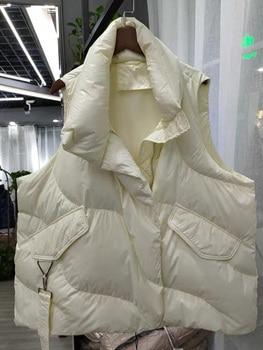 FMFSSOM Loose Causal  90%  White Duck Down Jacket Women Sleeveless Asymmetric Length Beige Spring Autumn Windpoof Basic Outwear 1