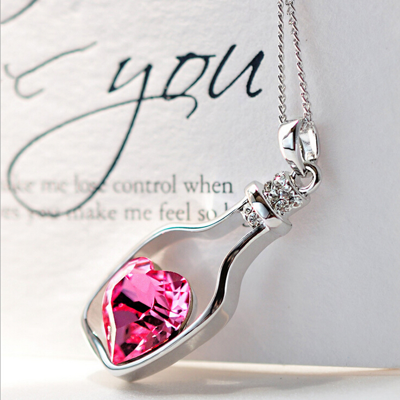 1Pcs Trendy Chains Necklace Popular Style Love Drift Bottles Pendant Heart Crystal Pendants Colar Fashion Jewelry 2019