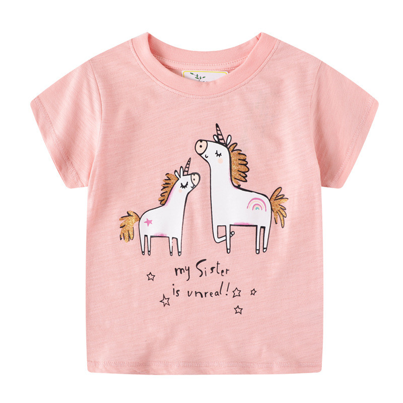 Jumping meters Girls Pink Cotton T shirts for Summer Stripe Children Clothes Animals Print New 2020 Kids Tops Tees 4