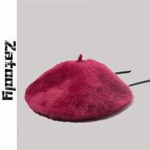 Autumn and winter fashion warm soft rabbit berets painter cap adjustable draw ro
