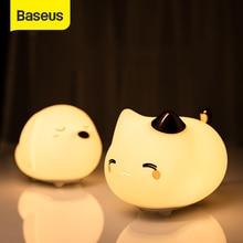 Baseus لطيف LED ضوء الليل لينة سيليكون اللمس الاستشعار ضوء الليل للأطفال الاطفال نوم قابلة للشحن الحنفية التحكم ليلة مصباح