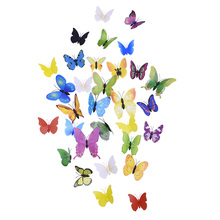 12pcs/lot Multicolor Butterfly Wall Sticker for Home Decoration Simulated 3D Stereo PVC Wall Sticker Kids Room Decorative room decoration flower rattan butterfly pattern wall sticker