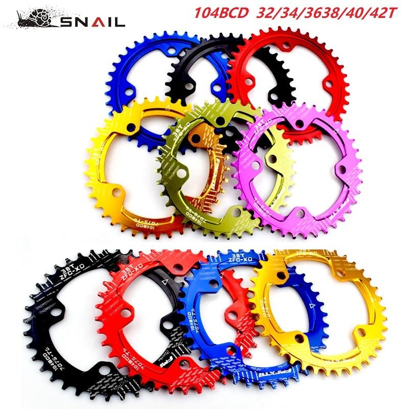 SNAIL 104bcd Ultralight 32//34//36//38//40//42T Bike Chainring Narrow Wide Chainwheel