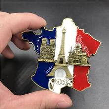 1 Pcs Creative 3D Metal Magnet France Map Fridge Stickers Resin Sticker Paris Tourist Souvenir Home Supplies Decor