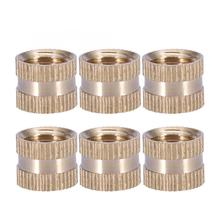 10pcs Stainless Steel Square Nuts Wood Screw And Nut M10*10L*12MM Brass Cylinder Knurled Round Molded-in Insert Embedded