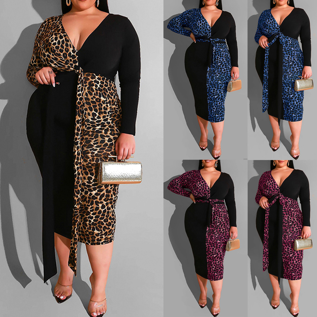 sukienki dress women Bandage Leopard Patchwork Tight Sashes Long Sleeves winter party  dress  ropa mujer robe hiver femme 2020