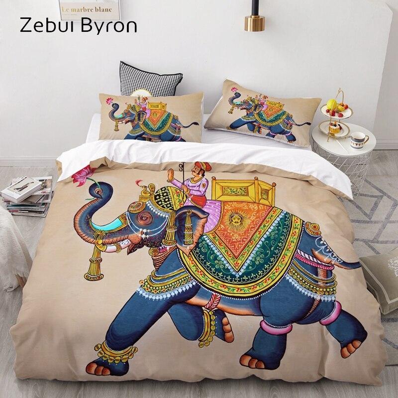3D Bedding Set Custom/USA Queen/King/Europe,3PCS Duvet Cover Set,Quilt/Blanket Cover Set,Bed Set Elephant With Jockey,drop Ship