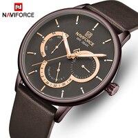 NAVIFORCE Uhr Leder Quarz Männer Uhren Waterpoof Kalender männer Armbanduhr Top Luxus Marke Relogio Masculino Uhr für Männer