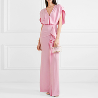 New female temperament dress all v neck cultivate morality show thin pink split package hip women dress clothes