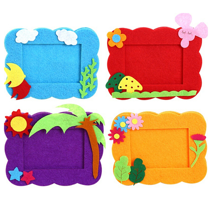 Hot 1PC Creative Non-woven DIY Photo Frame Children Hand-made Material Package Educational Toy Home Decor Craft Toys Craft