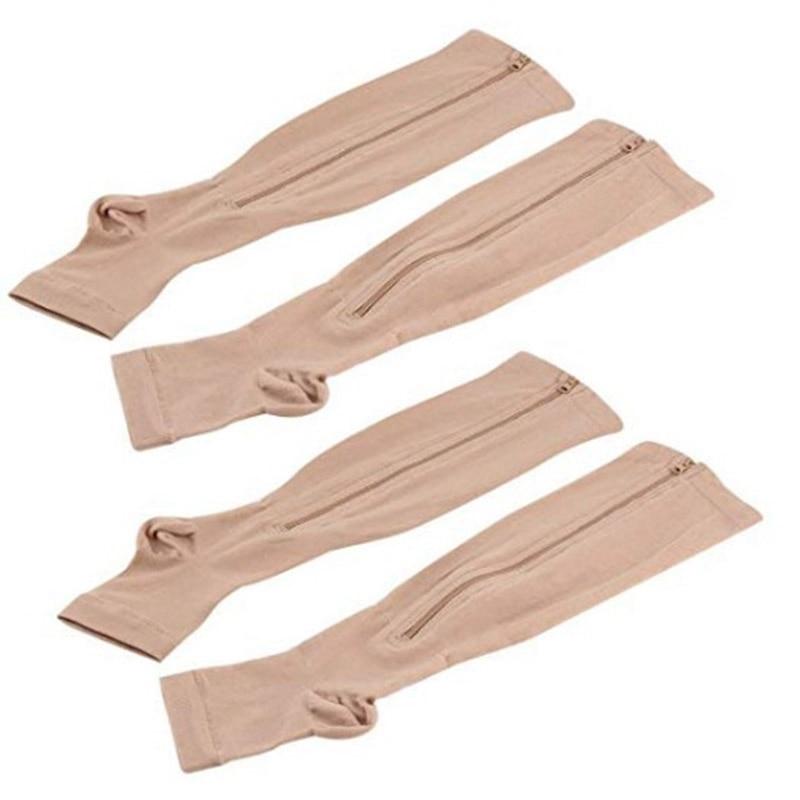 2 Pairs Compression Socks Men/Women Open Toe Leg Support Stocking Knee High Socks With Zipper 15-20 Mmhg