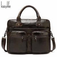 LAZYLIFE Women Men handbags ladies briefcase computer bag file package female leather shoulder messenger bag laptop briefcases