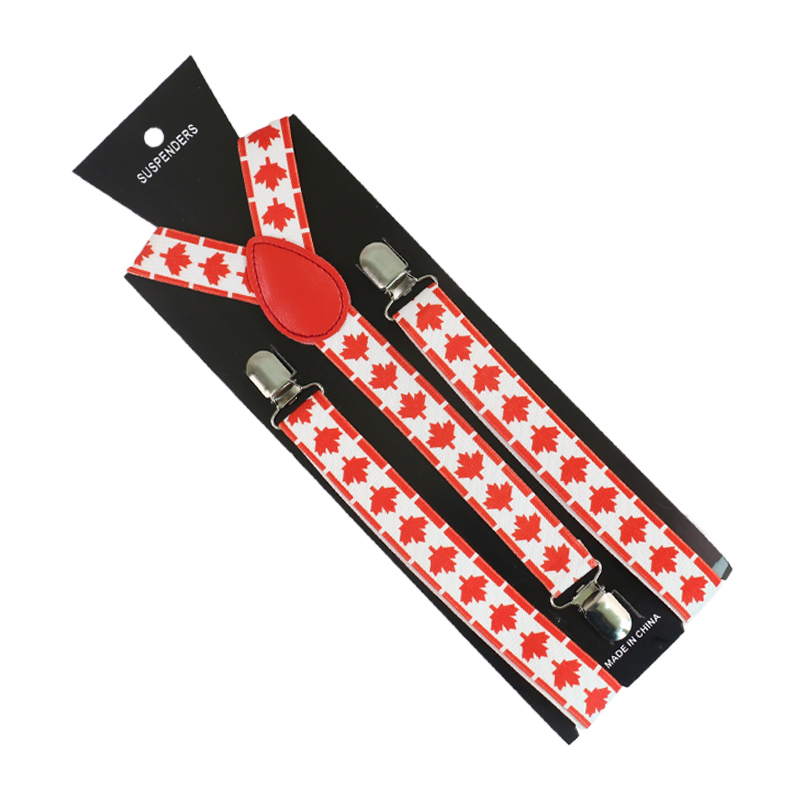 HUOBAO New Men Women`s Clip-on Braces Canada Flag/maple Leaf Print Suspender  Y-back Elastic Suspender Strap