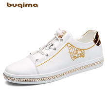 Buqima high quality shoes mens sports flat casual embroidery luxury gentleman leather