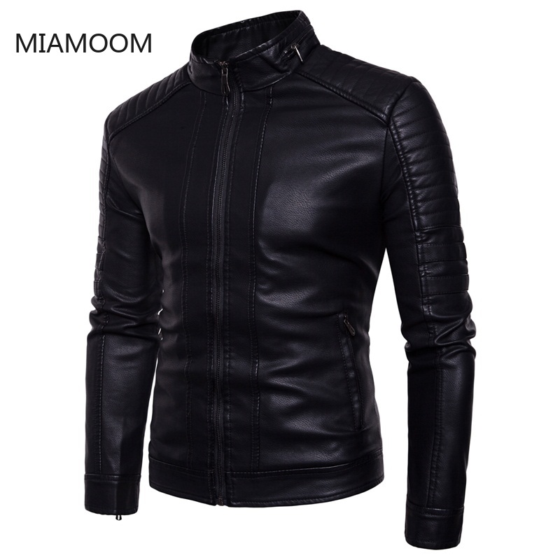 Men Leather Jacket New Faux Leather Coat Large Size Standing Collar PU Jacket For Men In Winter