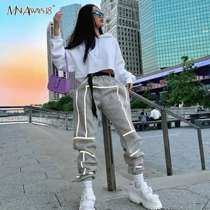 Image 2 - Mnealways18 Reflective Stripe Pants Women Streetwear Belt Knitted Female Casual Joggers Sweatpants Loose Pencil Pants Winter